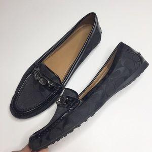 Coach black fabric signature loafers black 11
